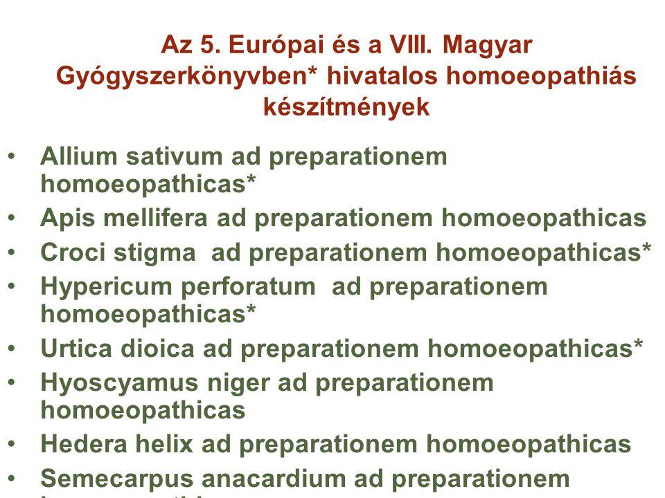 Az 5. Európai és a VIII. Magyar Gyógyszerkönyvben* hivatalos homoeopathiás készítmények Allium sativum ad preparationem homoeopathicas* Apis mellifera