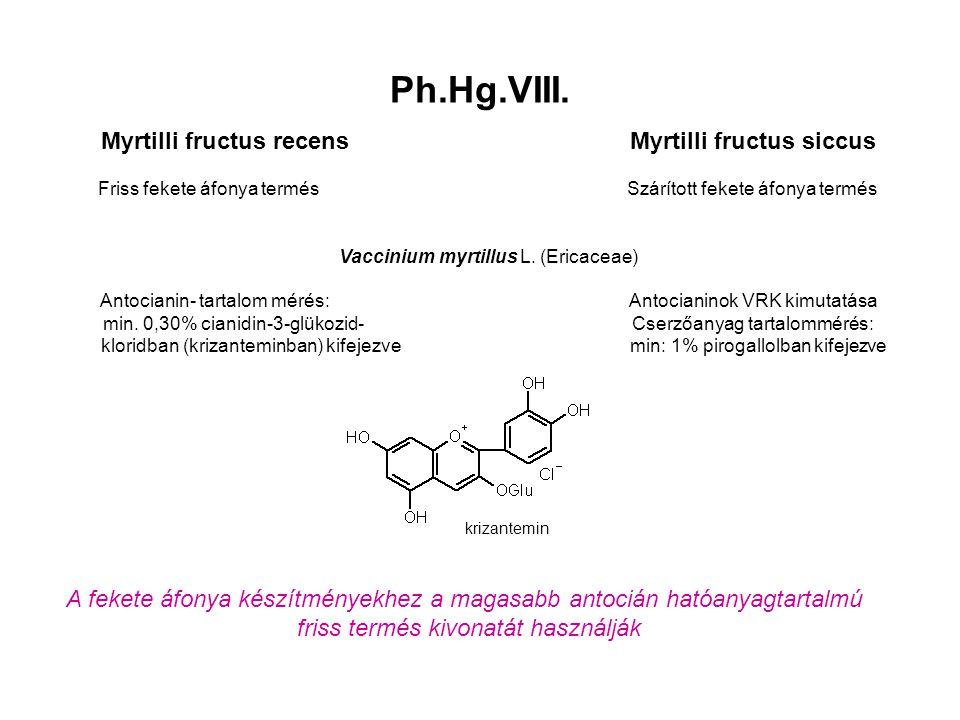 Ph.Hg.VIII. Myrtilli fructus recensMyrtilli fructus siccus Friss fekete áfonya termésSzárított fekete áfonya termés Vaccinium myrtillus L. (Ericaceae)