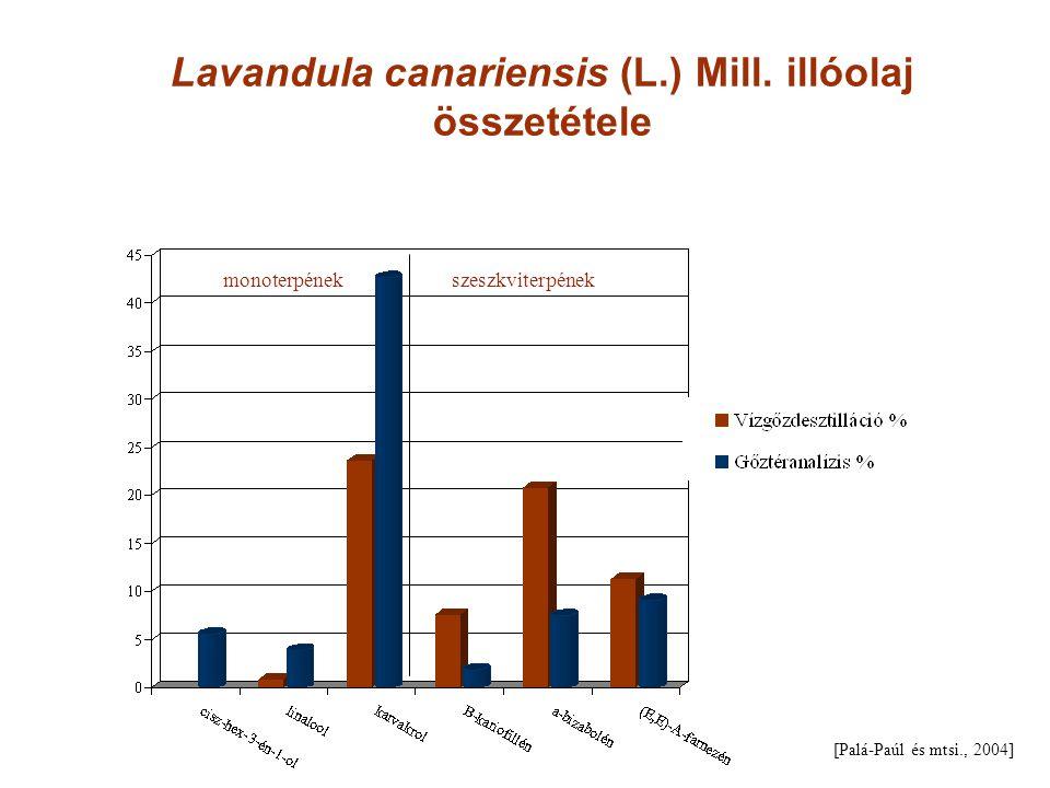 Lavandula canariensis (L.) Mill. illóolaj összetétele [Palá-Paúl és mtsi., 2004] monoterpének szeszkviterpének