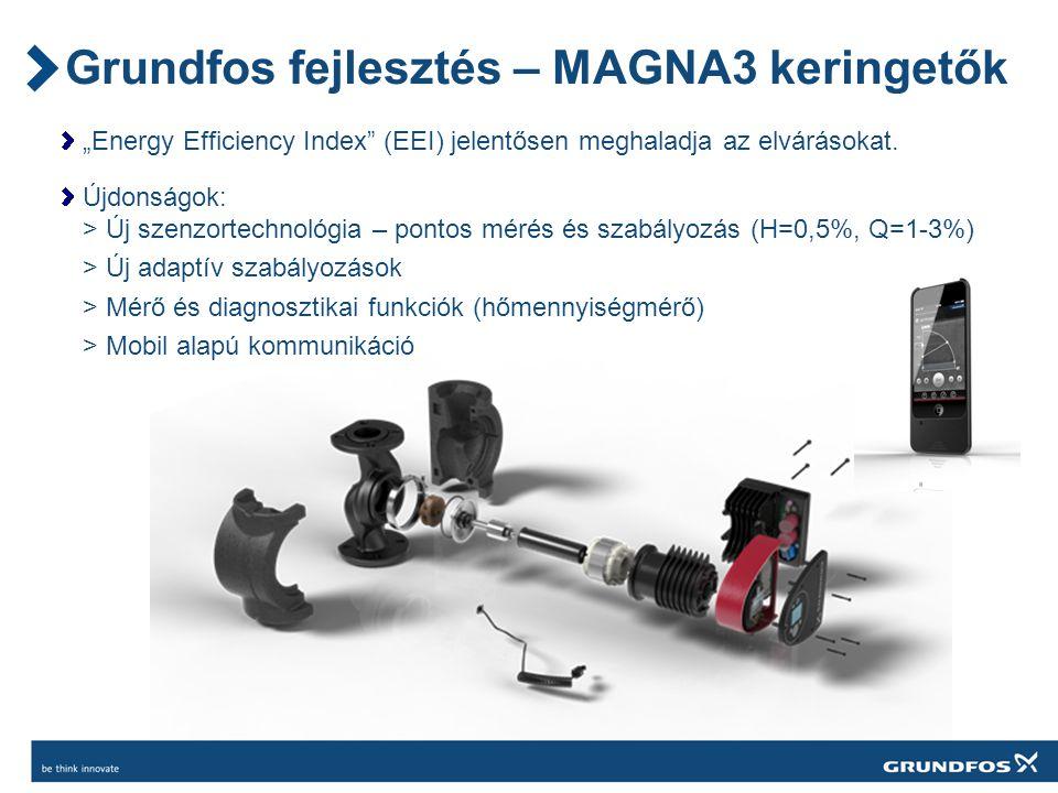 """Grundfos fejlesztés – MAGNA3 keringetők """"Energy Efficiency Index (EEI) jelentősen meghaladja az elvárásokat."""