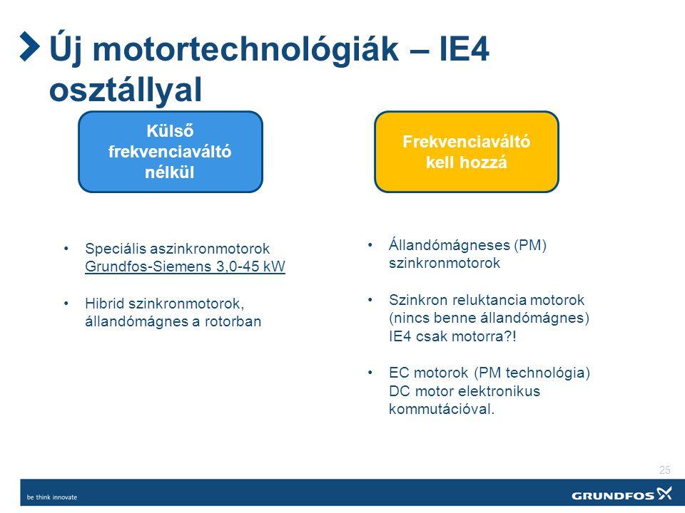 Új motortechnológiák – IE4 osztállyal 25 Külső frekvenciaváltó nélkül Frekvenciaváltó kell hozzá Állandómágneses (PM) szinkronmotorok Szinkron reluktancia motorok (nincs benne állandómágnes) IE4 csak motorra?.