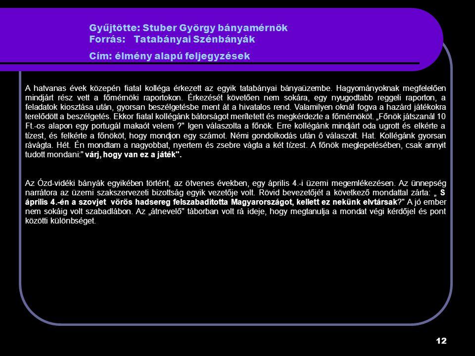 12 Gyűjtötte: Stuber György bányamérnök Forrás: Tatabányai Szénbányák Cím: élmény alapú feljegyzések A hatvanas évek közepén fiatal kolléga érkezett az egyik tatabányai bányaüzembe.