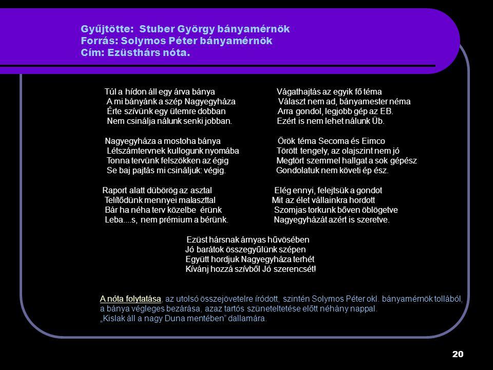 20 Gyűjtötte: Stuber György bányamérnök Forrás: Solymos Péter bányamérnök Cím: Ezüsthárs nóta.