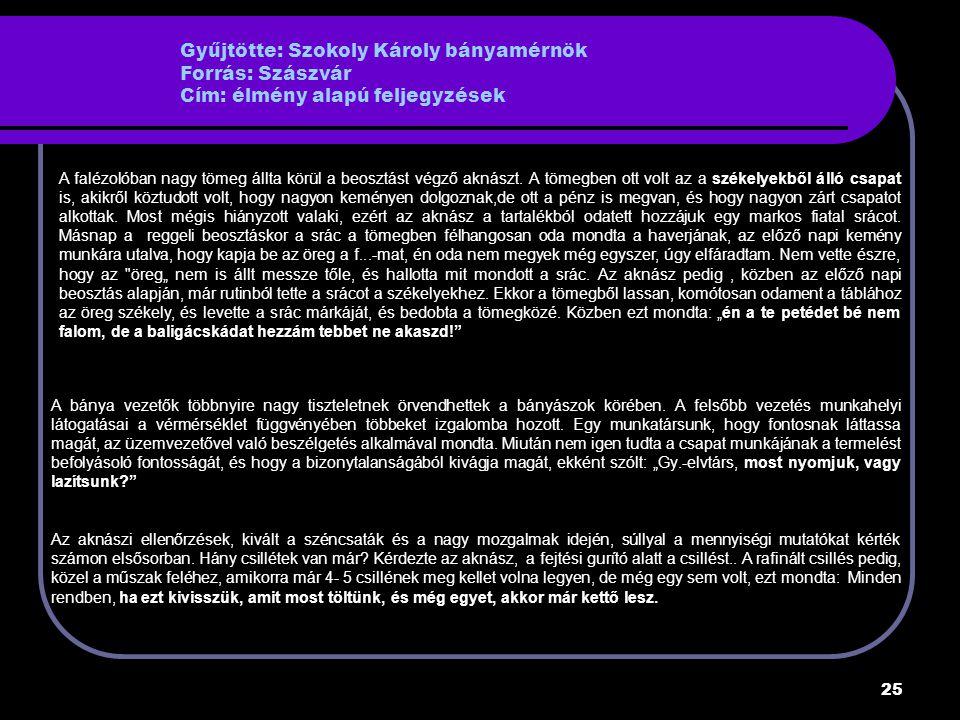 25 Gyűjtötte: Szokoly Károly bányamérnök Forrás: Szászvár Cím: élmény alapú feljegyzések A falézolóban nagy tömeg állta körül a beosztást végző aknászt.