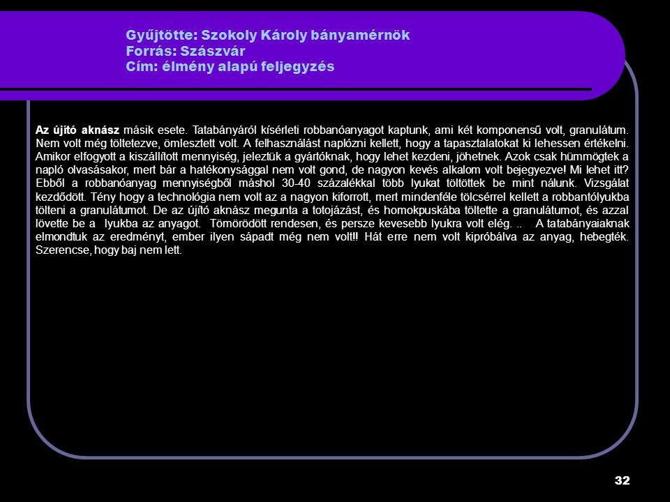 32 Gyűjtötte: Szokoly Károly bányamérnök Forrás: Szászvár Cím: élmény alapú feljegyzés Az újító aknász másik esete.