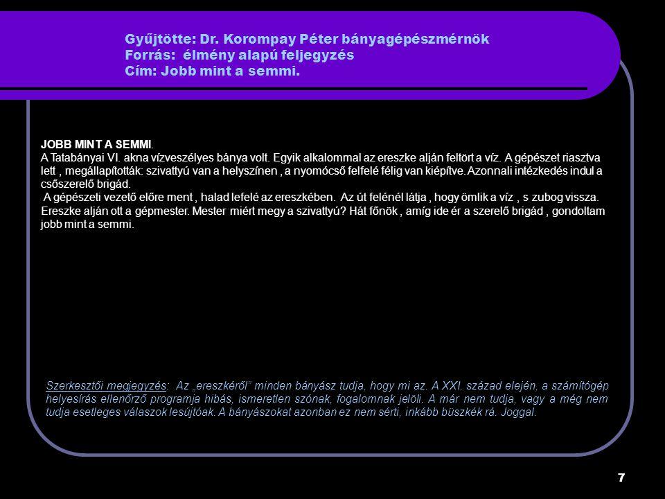 """18 Gyűjtötte: Stuber György bányamérnök Forrás: Tatabányai Szénbányák Cím: Üzemi történetek Napok óta nem érte el egy kis fejtés a szakonkénti egy """"utca kiszenelését."""