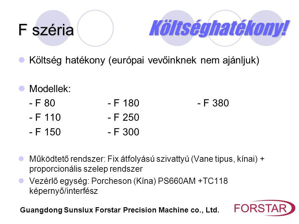 F széria Költséghatékony! Költség hatékony (európai vevőinknek nem ajánljuk) Modellek: - F 80- F 180- F 380 - F 110- F 250 - F 150- F 300 Működtető re