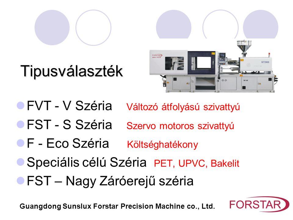 Jelölések FST – Forstar név rövidítés 120 - Záróerő1200kN VI - Változó átfolyású szivattyú (nyílt hurkú) VII - Változó átfolyású szivattyú (zárt hurkú) SI - Szervó meghajtású szivattyú (Kínai) SII - Szervó meghajtású szivattyú (Japán) Model: FST120VI, FST120VII, FST120SI, FST120SII Guangdong Sunslux Forstar Precision Machine co., Ltd.