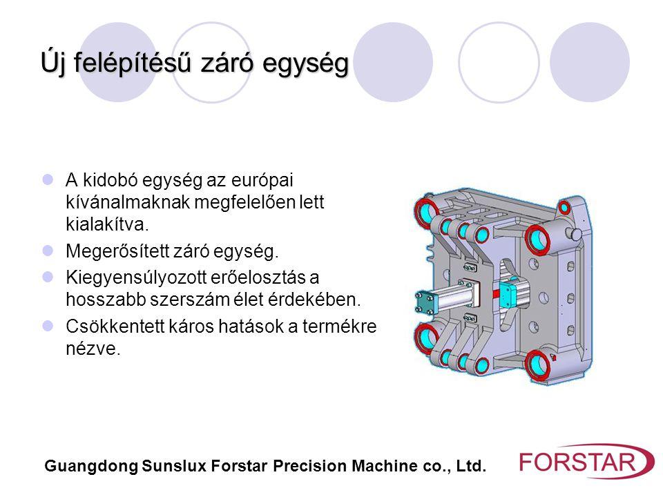 Új felépítésű záró egység Guangdong Sunslux Forstar Precision Machine co., Ltd. A kidobó egység az európai kívánalmaknak megfelelően lett kialakítva.