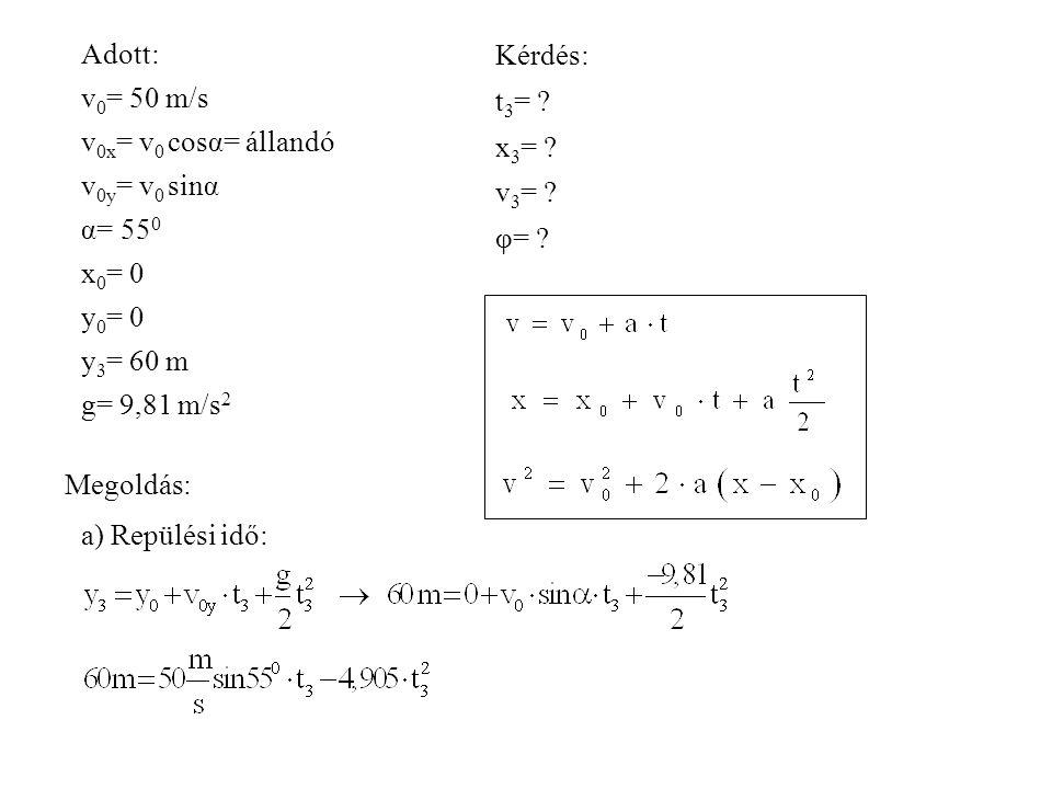 Adott: v 0 = 50 m/s v 0x = v 0 cosα= állandó v 0y = v 0 sinα α= 55 0 x 0 = 0 y 0 = 0 y 3 = 60 m g= 9,81 m/s 2 Kérdés: t 3 = ? x 3 = ? v 3 = ? φ= ? Meg