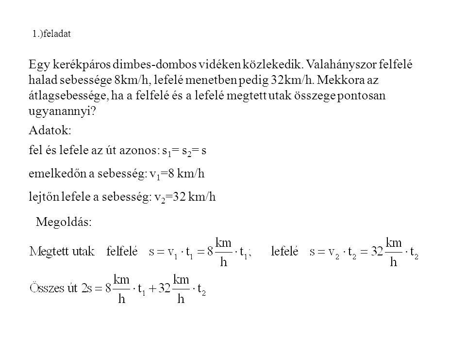 2.példa Egy labdát függőlegesen v 0 = 20 m/s kezdősebességgel felfele dobunk.