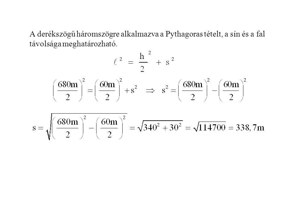 A derékszögű háromszögre alkalmazva a Pythagoras tételt, a sín és a fal távolsága meghatározható.