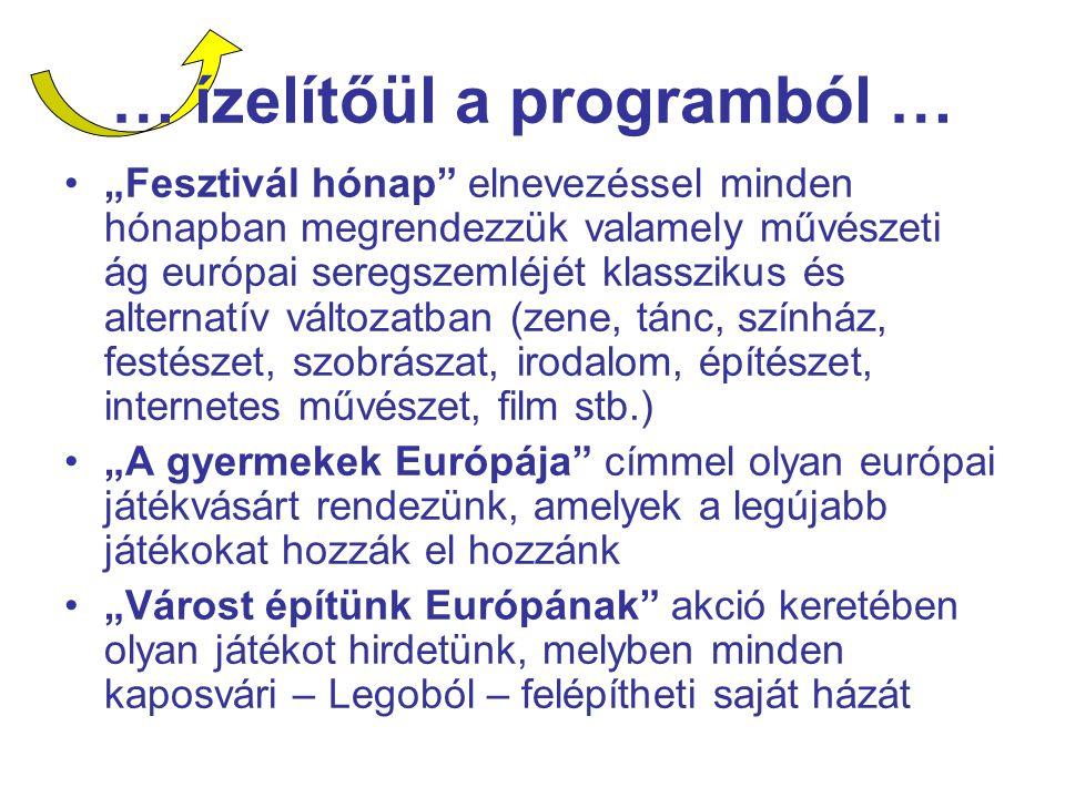 """… ízelítőül a programból … """"Fesztivál hónap elnevezéssel minden hónapban megrendezzük valamely művészeti ág európai seregszemléjét klasszikus és alternatív változatban (zene, tánc, színház, festészet, szobrászat, irodalom, építészet, internetes művészet, film stb.) """"A gyermekek Európája címmel olyan európai játékvásárt rendezünk, amelyek a legújabb játékokat hozzák el hozzánk """"Várost építünk Európának akció keretében olyan játékot hirdetünk, melyben minden kaposvári – Legoból – felépítheti saját házát"""