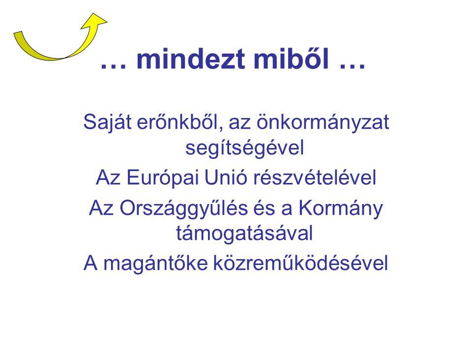 … mindezt miből … Saját erőnkből, az önkormányzat segítségével Az Európai Unió részvételével Az Országgyűlés és a Kormány támogatásával A magántőke kö