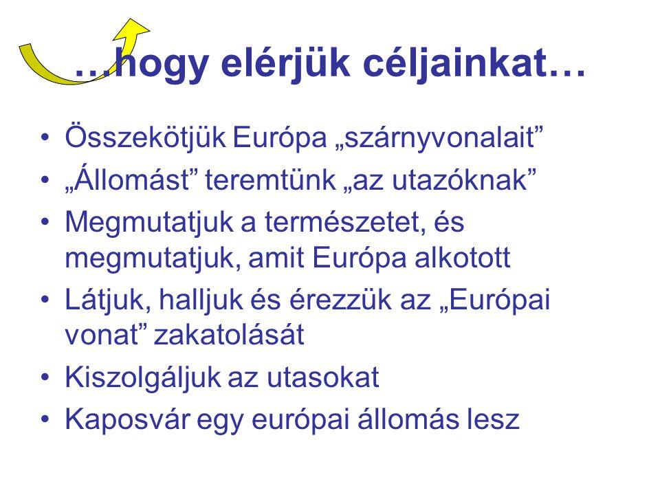 """…hogy elérjük céljainkat… Összekötjük Európa """"szárnyvonalait """"Állomást teremtünk """"az utazóknak Megmutatjuk a természetet, és megmutatjuk, amit Európa alkotott Látjuk, halljuk és érezzük az """"Európai vonat zakatolását Kiszolgáljuk az utasokat Kaposvár egy európai állomás lesz"""