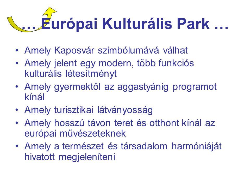 … Európai Kulturális Park … Amely Kaposvár szimbólumává válhat Amely jelent egy modern, több funkciós kulturális létesítményt Amely gyermektől az aggastyánig programot kínál Amely turisztikai látványosság Amely hosszú távon teret és otthont kínál az európai művészeteknek Amely a természet és társadalom harmóniáját hivatott megjeleníteni