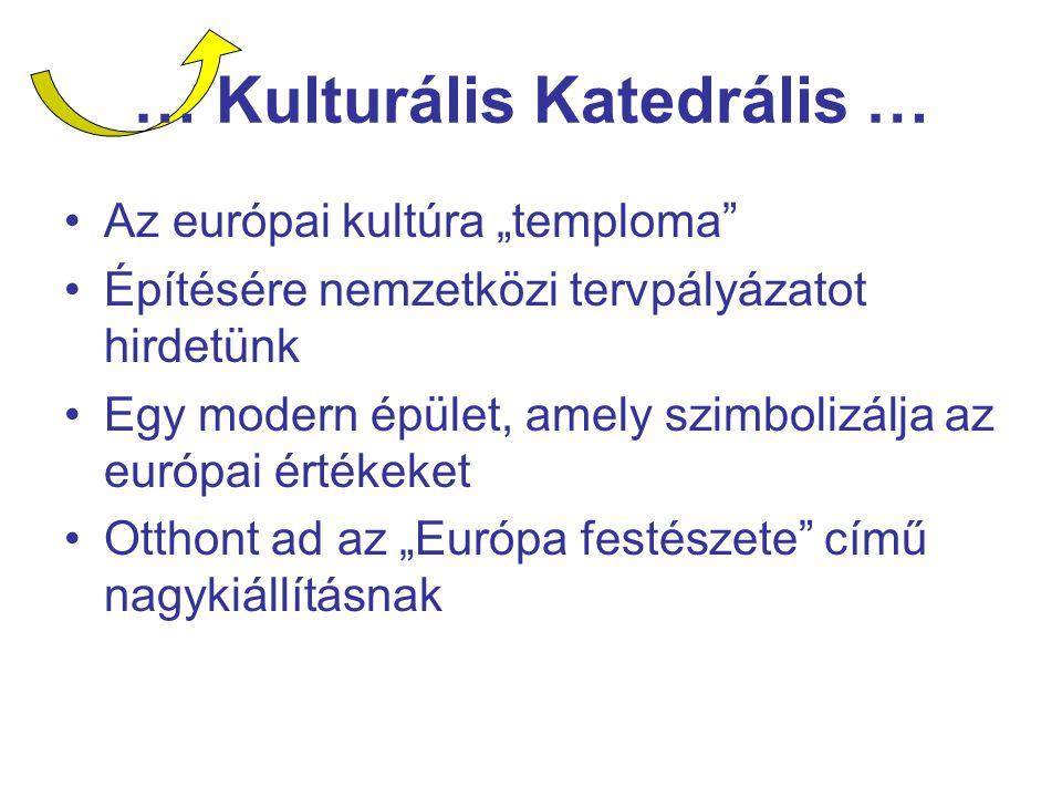 """… Kulturális Katedrális … Az európai kultúra """"temploma Építésére nemzetközi tervpályázatot hirdetünk Egy modern épület, amely szimbolizálja az európai értékeket Otthont ad az """"Európa festészete című nagykiállításnak"""