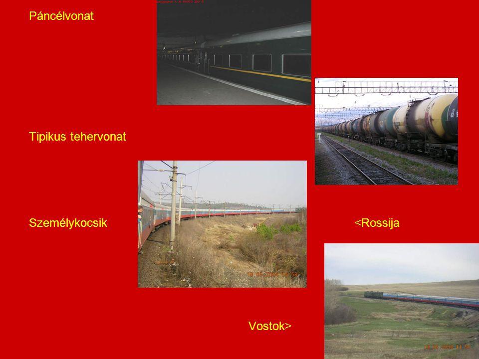 Páncélvonat Tipikus tehervonat Személykocsik <Rossija Vostok>