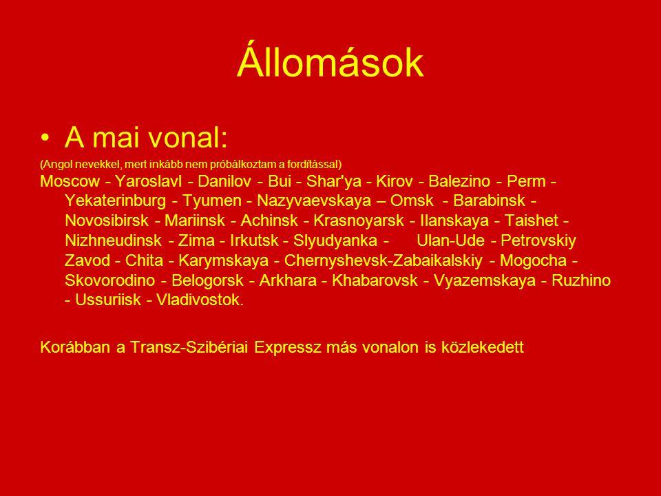 Állomások A mai vonal: (Angol nevekkel, mert inkább nem próbálkoztam a fordítással) Moscow - Yaroslavl - Danilov - Bui - Shar'ya - Kirov - Balezino -