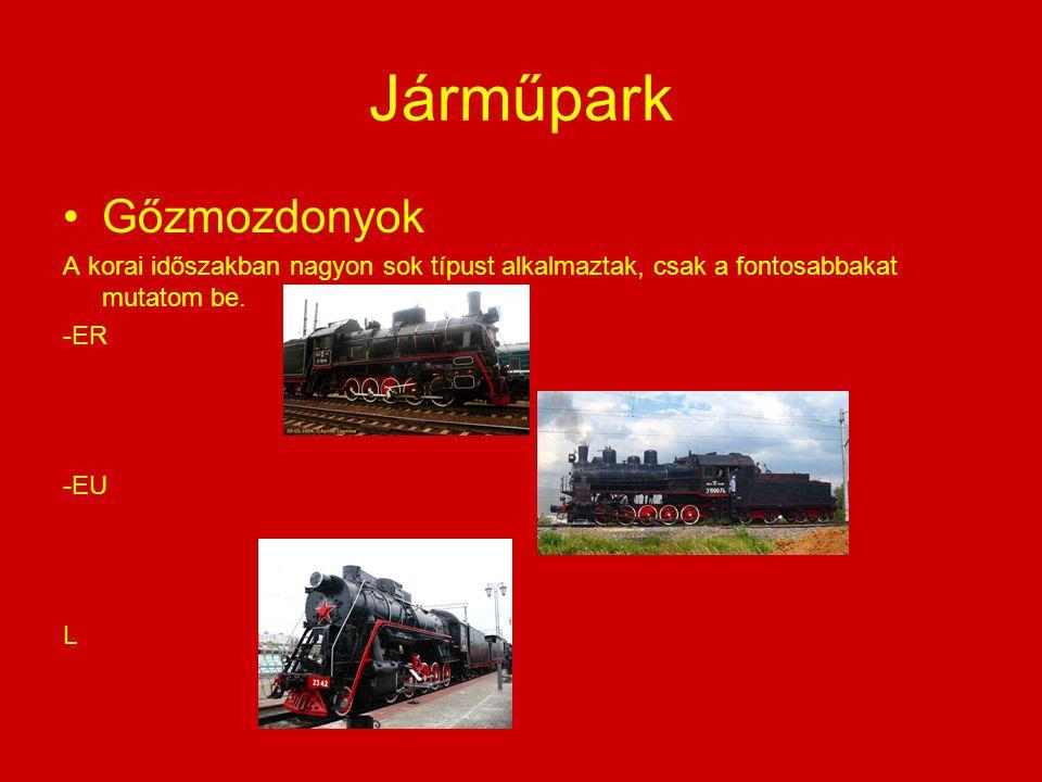 Járműpark Gőzmozdonyok A korai időszakban nagyon sok típust alkalmaztak, csak a fontosabbakat mutatom be. -ER -EU L
