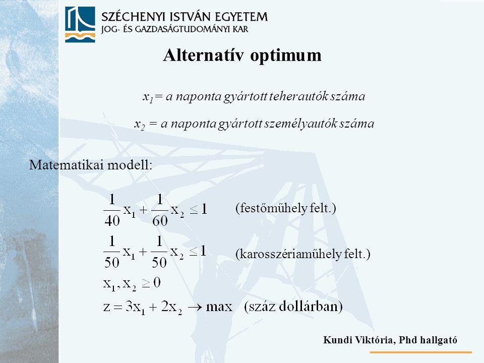Alternatív optimum x 1 = a naponta gyártott teherautók száma x 2 = a naponta gyártott személyautók száma Matematikai modell: (festőműhely felt.) (karo