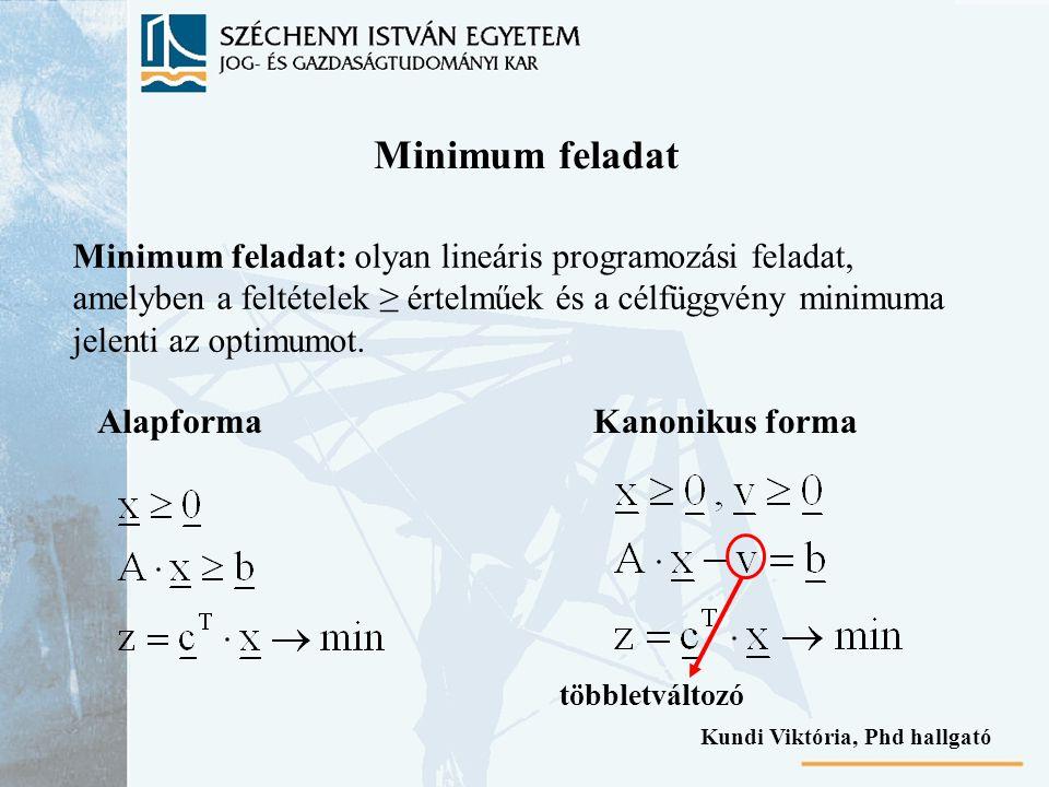 Minimum feladat Minimum feladat: olyan lineáris programozási feladat, amelyben a feltételek ≥ értelműek és a célfüggvény minimuma jelenti az optimumot