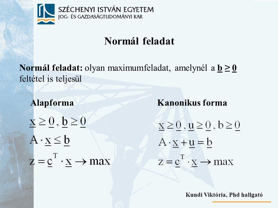 Normál feladat Normál feladat: olyan maximumfeladat, amelynél a b ≥ 0 feltétel is teljesül AlapformaKanonikus forma Kundi Viktória, Phd hallgató