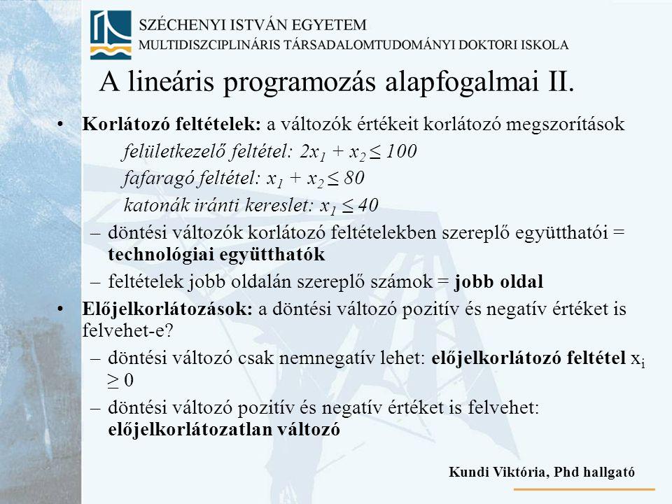 A lineáris programozás alapfogalmai II. Korlátozó feltételek: a változók értékeit korlátozó megszorítások felületkezelő feltétel: 2x 1 + x 2 ≤ 100 faf
