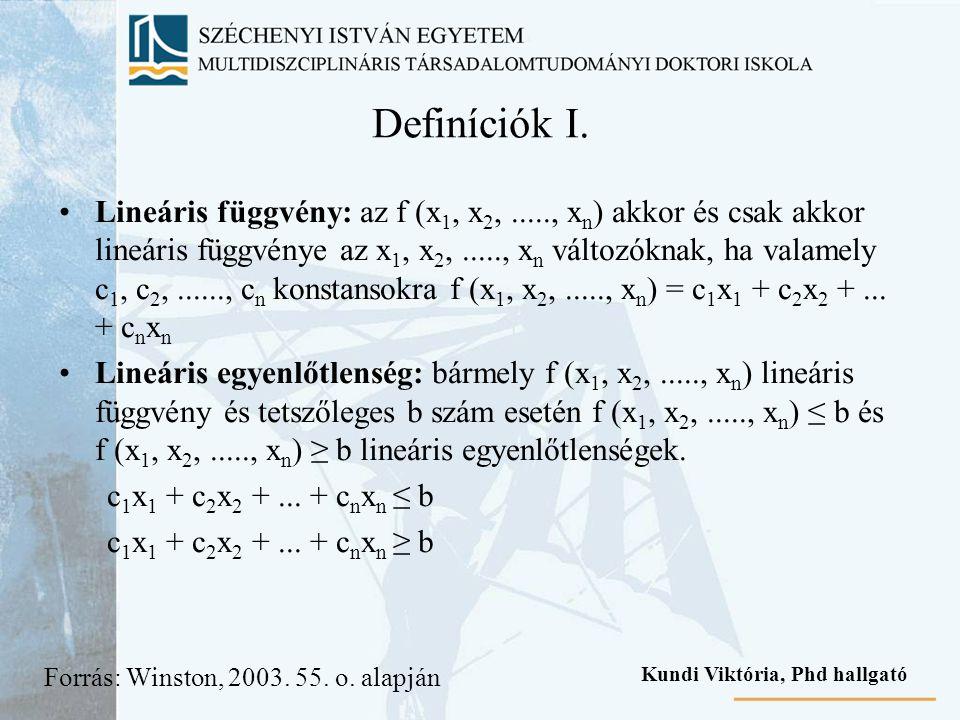 Definíciók I. Lineáris függvény: az f (x 1, x 2,....., x n ) akkor és csak akkor lineáris függvénye az x 1, x 2,....., x n változóknak, ha valamely c
