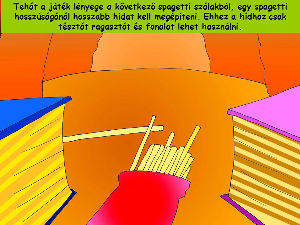 Tehát a játék lényege a következő spagetti szálakból, egy spagetti hosszúságánál hosszabb hidat kell megépíteni.