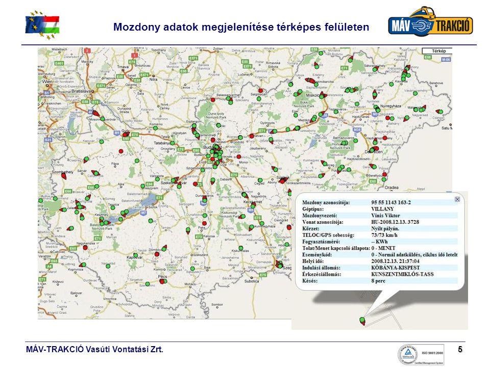 MÁV-TRAKCIÓ Vasúti Vontatási Zrt.5 Mozdony adatok megjelenítése térképes felületen