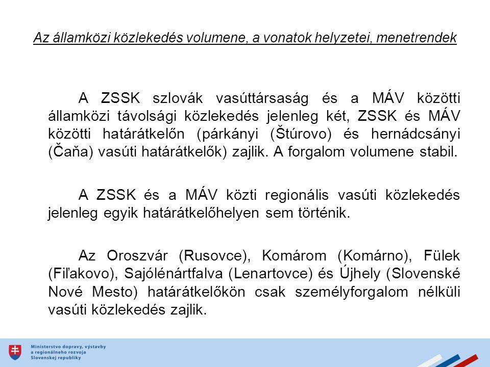 Az államközi közlekedés volumene, a vonatok helyzetei, menetrendek A ZSSK szlovák vasúttársaság és a MÁV közötti államközi távolsági közlekedés jelenleg két, ZSSK és MÁV közötti határátkelőn (párkányi (Štúrovo) és hernádcsányi (Čaňa) vasúti határátkelők) zajlik.