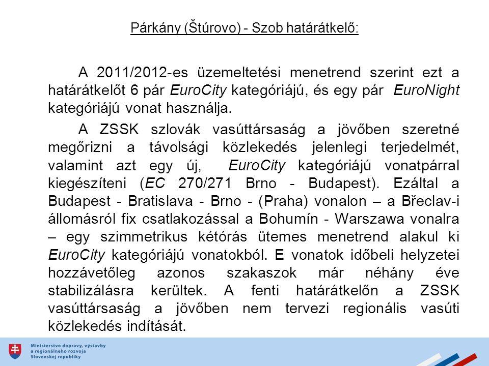 Párkány (Štúrovo) - Szob határátkelő: A 2011/2012-es üzemeltetési menetrend szerint ezt a határátkelőt 6 pár EuroCity kategóriájú, és egy pár EuroNight kategóriájú vonat használja.