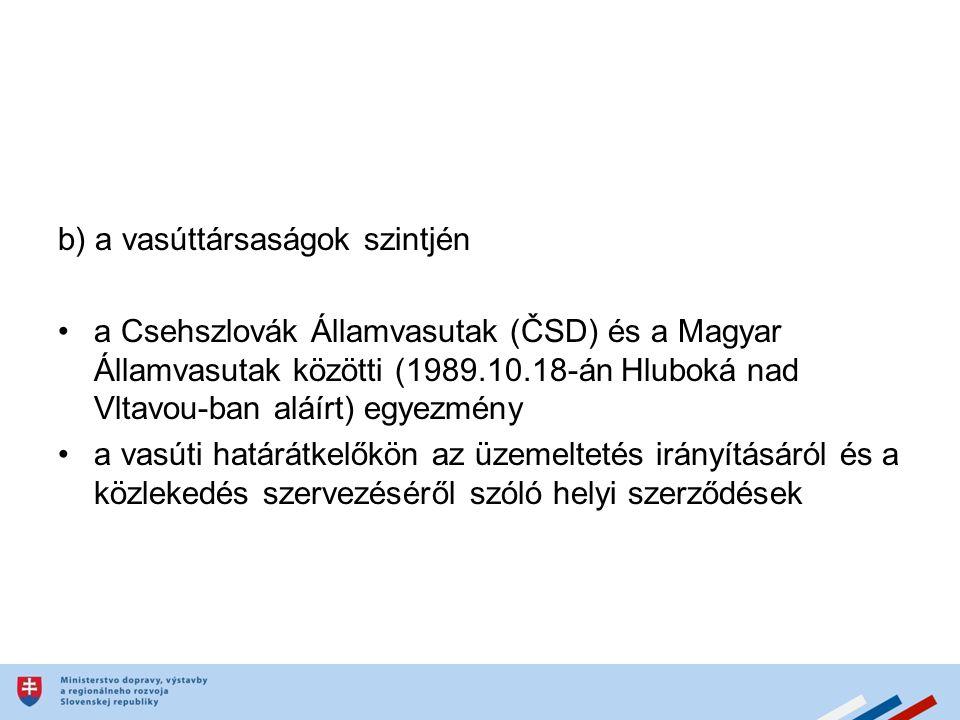b) a vasúttársaságok szintjén a Csehszlovák Államvasutak (ČSD) és a Magyar Államvasutak közötti (1989.10.18-án Hluboká nad Vltavou-ban aláírt) egyezmény a vasúti határátkelőkön az üzemeltetés irányításáról és a közlekedés szervezéséről szóló helyi szerződések