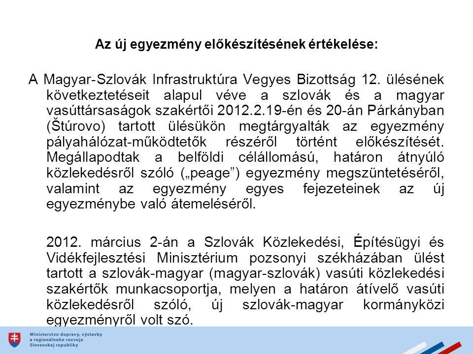 Az új egyezmény előkészítésének értékelése: A Magyar-Szlovák Infrastruktúra Vegyes Bizottság 12.
