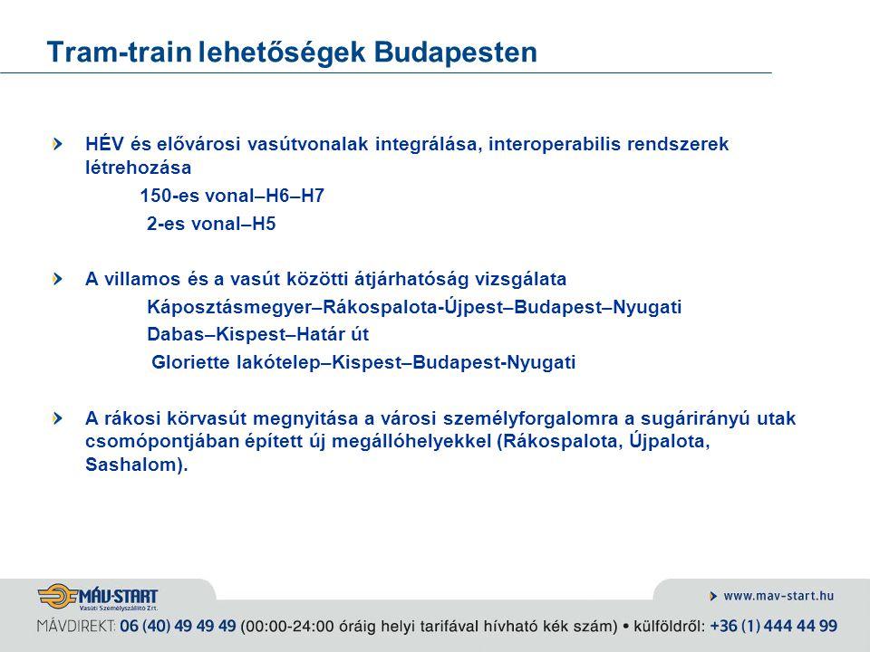 Tram-train lehetőségek Budapesten HÉV és elővárosi vasútvonalak integrálása, interoperabilis rendszerek létrehozása 150-es vonal–H6–H7 2-es vonal–H5 A