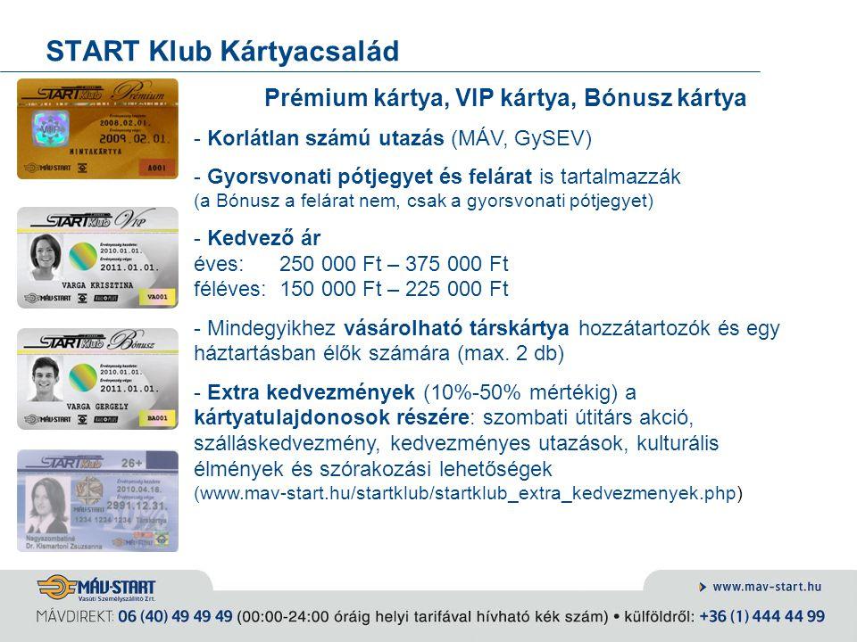START Klub Kártyacsalád Prémium kártya, VIP kártya, Bónusz kártya - Korlátlan számú utazás (MÁV, GySEV) - Gyorsvonati pótjegyet és felárat is tartalma
