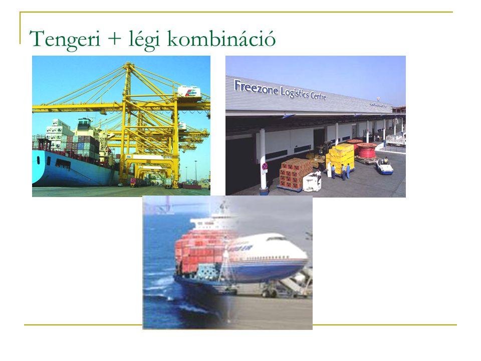 Vízi kombinációk közös jellemzői:  a fuvaroztató eleve kombinált fuvarozásra szerződik az operátorral  rész-fuvarozókkal az operátor köt szerződést  az eladó a teljesítését kombinált fuvarokmánnyal bizonyítja Combined B/L (FCL-FCL carrier's haulage) Direct B/L (folyam-tenger kombináció) CTD (tengeri-légi kombináció) (company transport document)