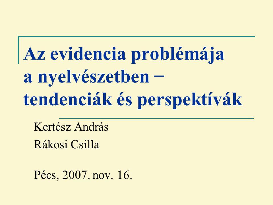 Az evidencia problémája a nyelvészetben − tendenciák és perspektívák Kertész András Rákosi Csilla Pécs, 2007.