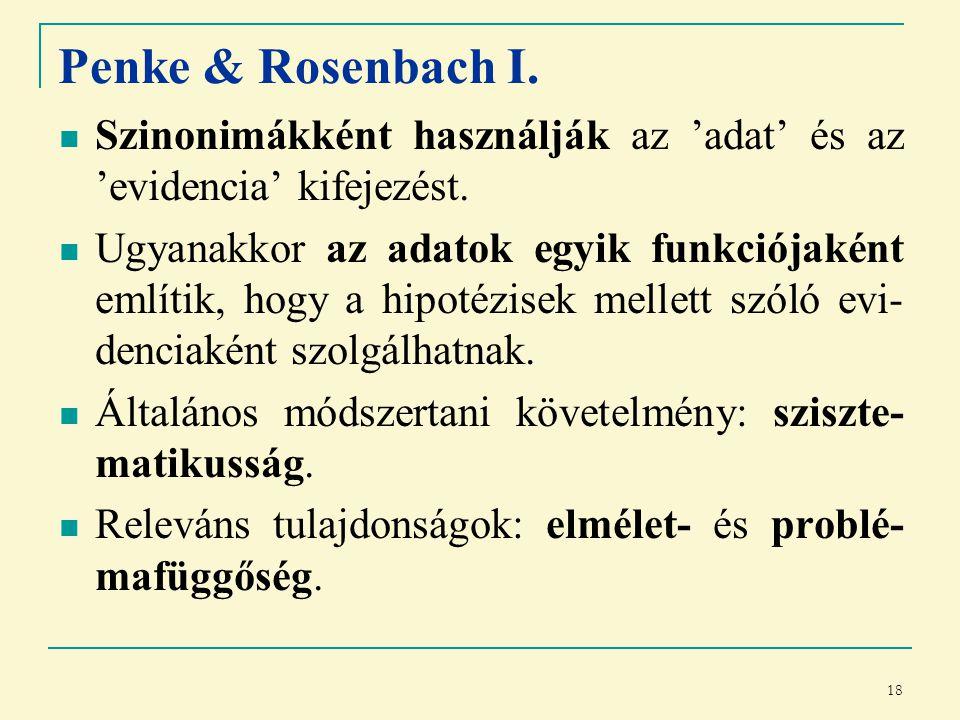 18 Penke & Rosenbach I. Szinonimákként használják az 'adat' és az 'evidencia' kifejezést.