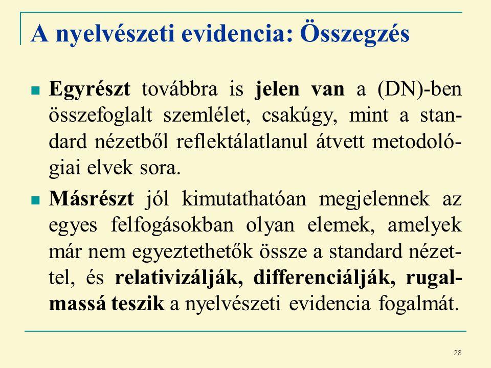 28 A nyelvészeti evidencia: Összegzés Egyrészt továbbra is jelen van a (DN)-ben összefoglalt szemlélet, csakúgy, mint a stan- dard nézetből reflektálatlanul átvett metodoló- giai elvek sora.