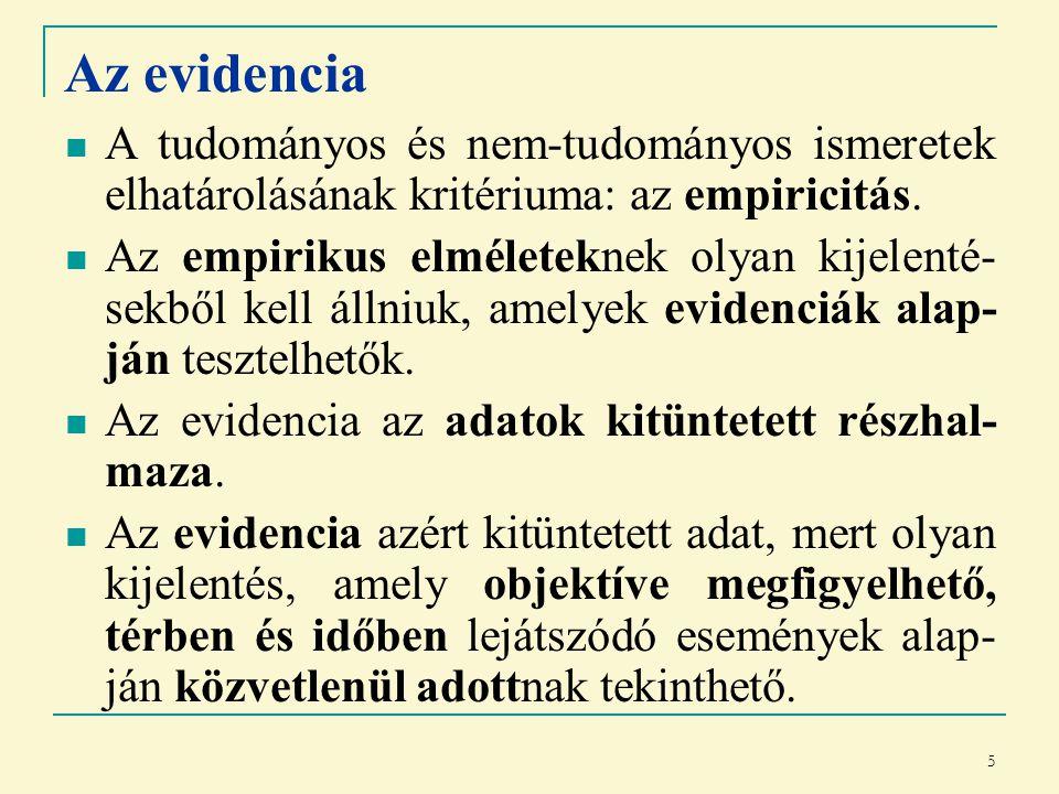 5 Az evidencia A tudományos és nem-tudományos ismeretek elhatárolásának kritériuma: az empiricitás.