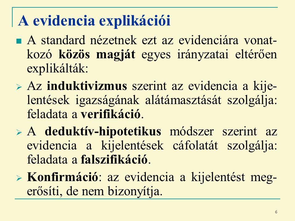6 A evidencia explikációi A standard nézetnek ezt az evidenciára vonat- kozó közös magját egyes irányzatai eltérően explikálták:  Az induktivizmus szerint az evidencia a kije- lentések igazságának alátámasztását szolgálja: feladata a verifikáció.
