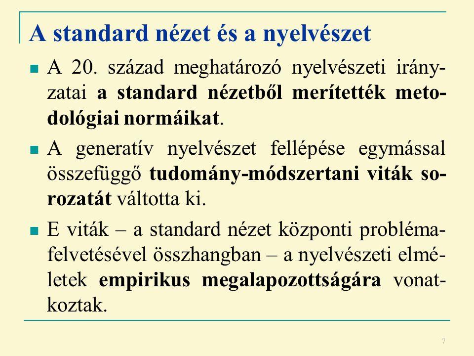 7 A standard nézet és a nyelvészet A 20.