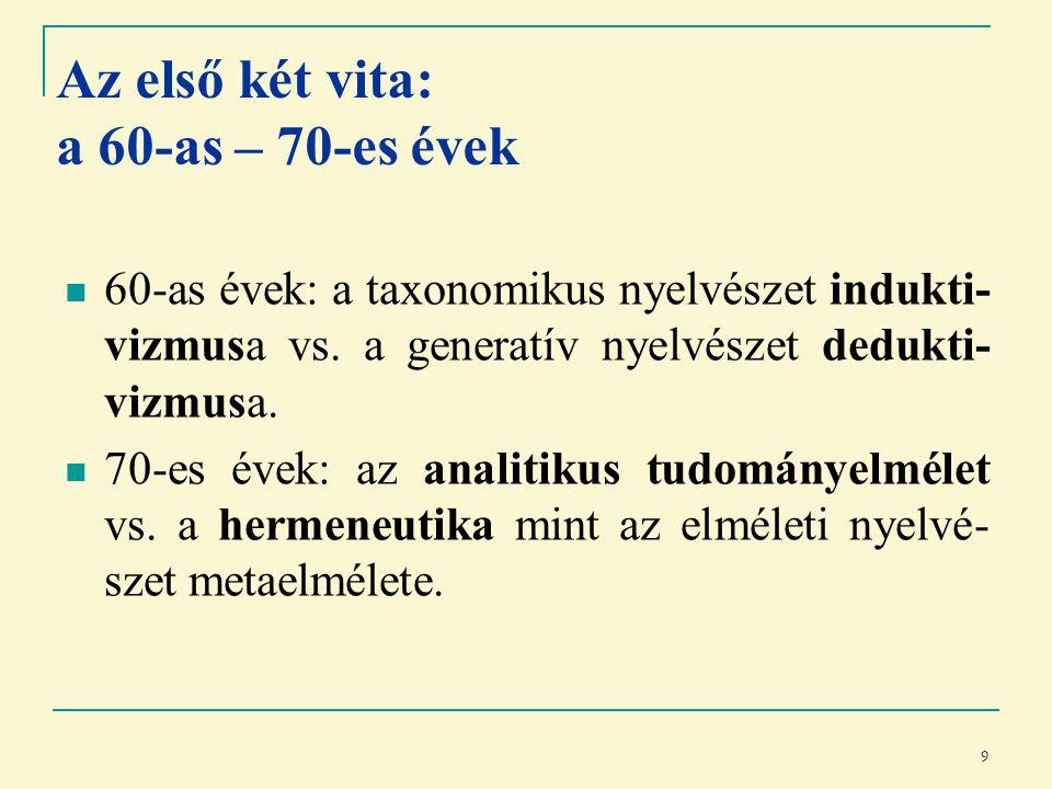 9 Az első két vita: a 60-as – 70-es évek 60-as évek: a taxonomikus nyelvészet indukti- vizmusa vs.