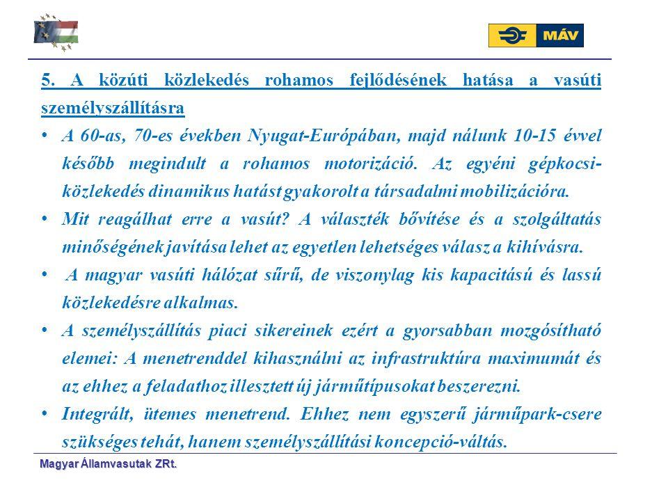 Magyar Á Á llamvasutak ZRt. 5. A közúti közlekedés rohamos fejlődésének hatása a vasúti személyszállításra A 60-as, 70-es években Nyugat-Európában, ma