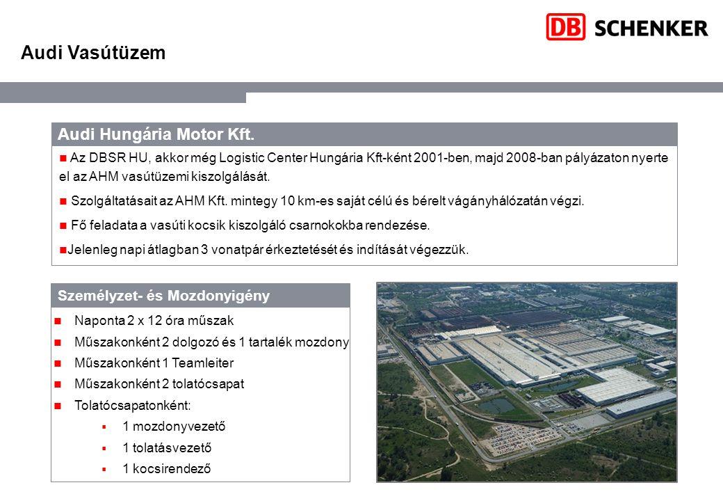 Audi Hungária Motor Kft. Az DBSR HU, akkor még Logistic Center Hungária Kft-ként 2001-ben, majd 2008-ban pályázaton nyerte el az AHM vasútüzemi kiszol