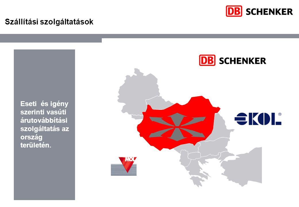 Szállítási szolgáltatások Eseti és igény szerinti vasúti árutovábbítási szolgáltatás az ország területén.