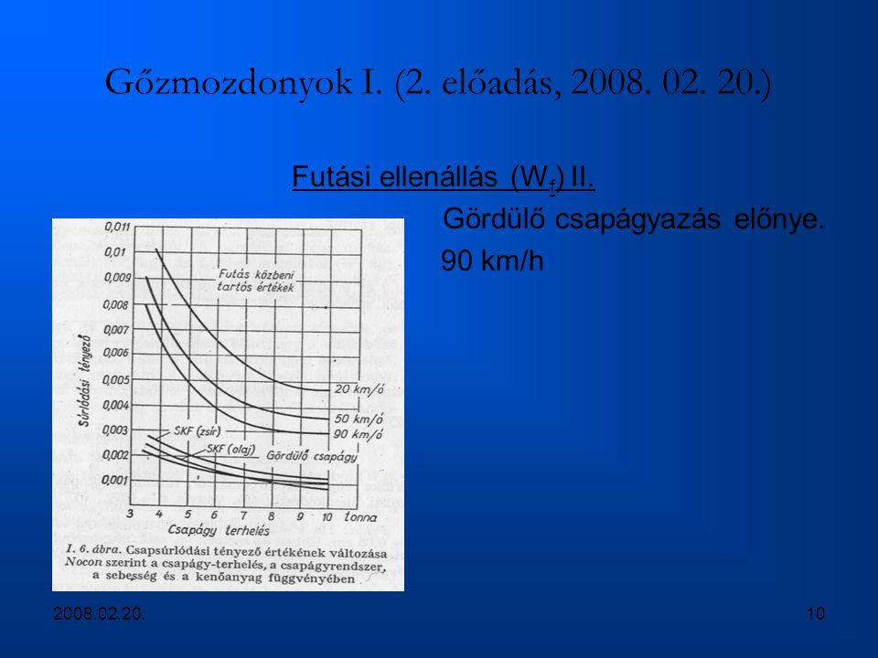 2008.02.20.10 Gőzmozdonyok I. (2. előadás, 2008. 02. 20.) Futási ellenállás (W f ) II. Gördülő csapágyazás előnye. 90 km/h