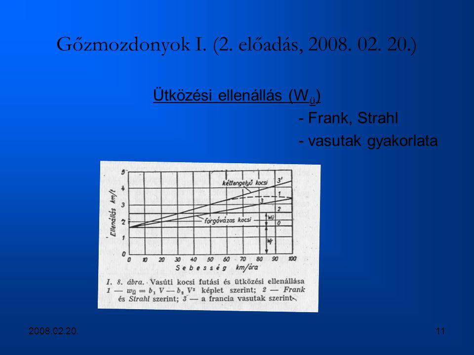 2008.02.20.11 Gőzmozdonyok I. (2. előadás, 2008. 02. 20.) Ütközési ellenállás (W ü ) - Frank, Strahl - vasutak gyakorlata